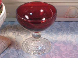 Vintage Anchor Hocking Ruby Red Bubble Boopie Footed Sherbet, Depression Glass - $15.99