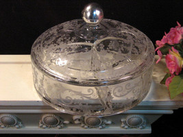 Vintage Cambridge Glass Chantilly Crystal Candy Dish Sterling Silver Knob  - $149.99