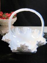 Beautiful Vintage Fenton Milk Glass Hobnail Ruffled Basket, Elegant Art ... - $63.99