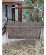 Vintage Gold Metal Mid Century Magazine Rack with Wood Handle, Atomic Age  - $42.99