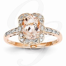 Morganite Diamond Oval Cushion Halo Vintage 14K Pink Rose Gold Engagemen... - £533.38 GBP