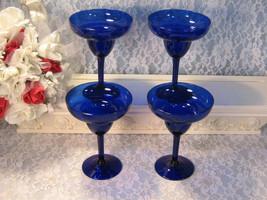 Vintage Cobalt Blue Glass Margarita Glasses, Set of Four, 1980s Mid Cent... - $54.99