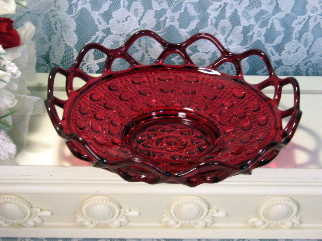 Vintage Imperial Glass Brillant Ruby Red Amberina Lace Edge, Katy, Sugar Cane  - $49.99