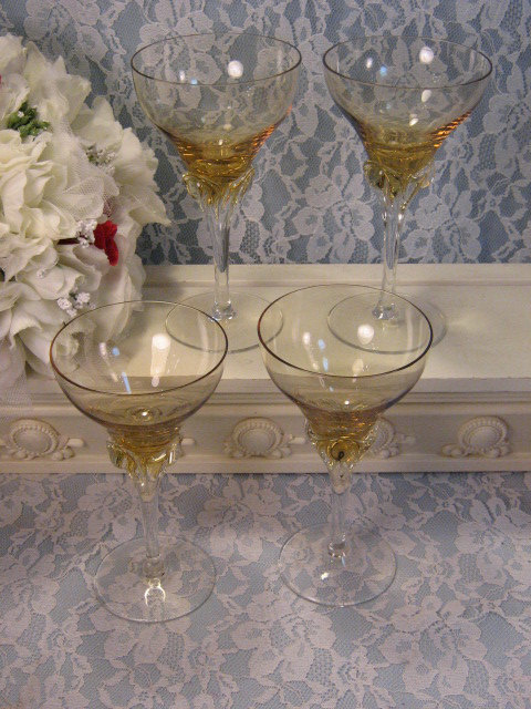 Primary image for Vintage Elegant Glass Topaz Yellow Crystal Wine Glass Set of Four, 1950's