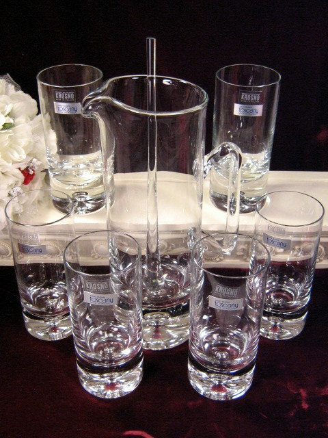 Primary image for Vintage Krosno Polish Crystal Toscany Ice Bucket, Pitcher and Tumblers, Barware