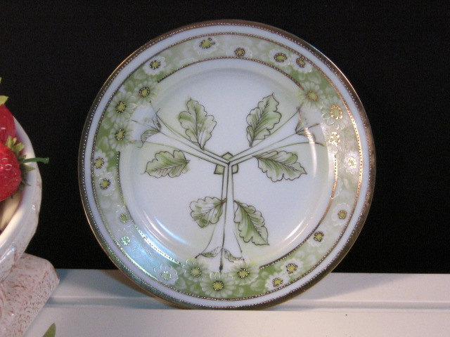 Primary image for Antique Yamato Nippon China Gold Trim Green Floral Daisy Plate