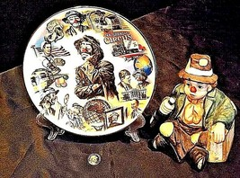 Emmett Kelly Clown Music Box, Plate and Pin AB 536 Vintage 1989