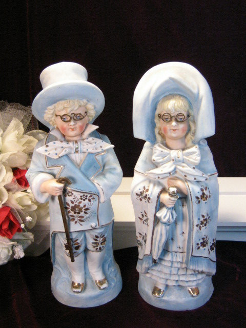 Primary image for Rare 12 Inch Antique Figurines Grandpa Grandma Germany Bisque Set Victorian