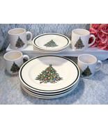 Vintage Royal China USA Christmas Tree Dinnerware Set Plates and Cups Se... - $79.99