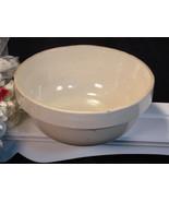 Antique Macomb Stoneware Salt Glaze Primitive White Mixing Bowl - $74.99
