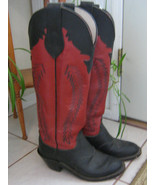 Vintage Olatha Womens Ladies Tall Red Leather Cowboy Boots, 1970s 1980s ... - $89.99