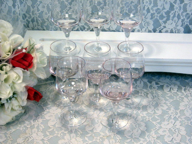Primary image for Vintage Sasaki Harmony Pink, Coral and Crystal Glass Stemmed Cordial or Wine