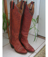 Vintage Sanders Womens Ladies Tall Stitched Leather Cowboy Boots Size 4 ... - $69.99