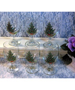 Vintage L.E. Smith Glass Christmas Cheer Wine Water Goblet, Set of Six i... - $24.99