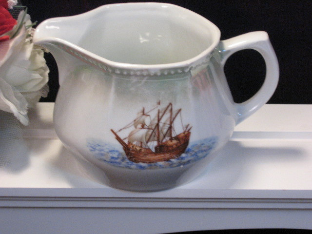Primary image for Beautiful Antique PK Germany Porcelain Luster Pitcher with Ship, Early 1900s