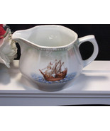Beautiful Antique PK Germany Porcelain Luster Pitcher with Ship, Early 1... - $24.99