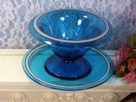 Cambridge or Fenton Blue Art Glass Mayonnaise Bowl with Liner Plate, Antique  - $124.99