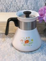 Vintage Corning Ware Wildflower 6 Cup Teapot # P-108, 1970's Pyroceram - $34.99