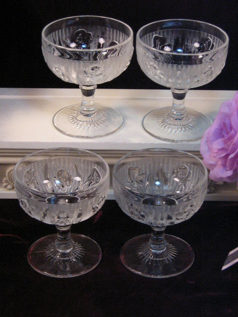 Primary image for Vintage Jeannette Glass Iris Herringbone Depression Glass Footed Sherbet Set