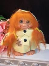 Vintage Retro Dam Troll Bank Orange Hair Green Eyes Yellow Raincoat - $74.99