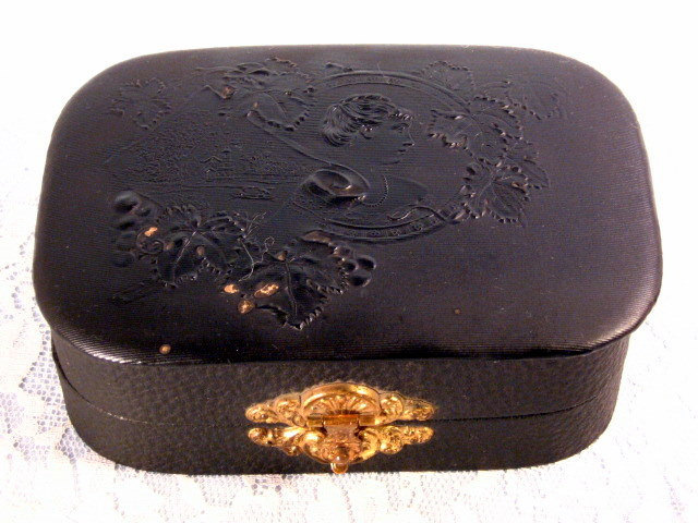 Primary image for Antique Victorian Ladies Fancy Black Manicure Set 1800's Leatherette Box