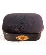 Antique Victorian Ladies Fancy Black Manicure Set 1800's Leatherette Box - $99.99