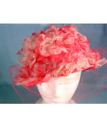 Vintage Pinehurst Fifth Avenue Mays 1950's Pink Floral Veil Hat Original... - $34.99