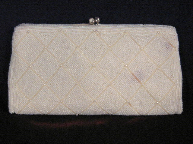 Primary image for Vintage Richere Japan White Beaded Evening Bag Clutch or Purse