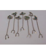Vintage Mexico Alpaca Silver Abalone Seafood Cocktail Hor D'ouvre Forks ... - $19.99