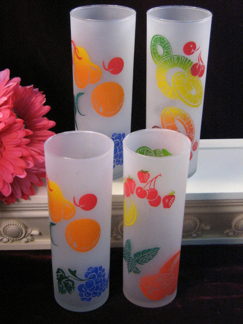 Primary image for Vintage Federal Glass Frosted Fruit Tall Tumblers or Glasses