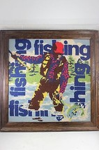 Vintage Accent Studios Framed Pop Art Fishing Needlepoint Wall Hanging - $99.00