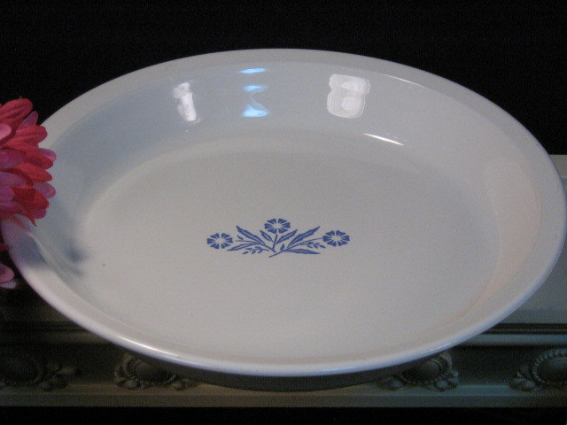 Primary image for Vintage Corning Ware Pyroceram Cornflower Blue Pie Pan, Glass Cookware, 1980's