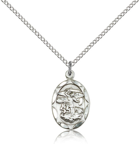 Primary image for Sterling Silver St. Michael the Archangel Pendant-18 Inch Necklace For Women 061