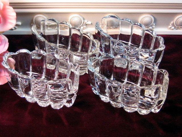 Primary image for Princess House Crystal Ribbed Spoon or Fork Rest Holder Set of Four, 1980s Glass