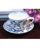 Vintage Blue Danube China Blue Cup and Saucer, 1960s Mid Century Dinnerware - $15.99