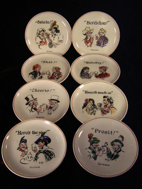 Primary image for Vintage Bristol Pottery England Toasts Plates Set of Eight Collector Plates