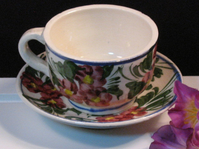 Primary image for Vintage Hand Painted Pottery Floral Cup and Saucer, 1930's Hand Painted