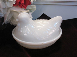 Vintage Hazel Atlas Milk Glass Hen On Nest, 1930s Depression Kitchen Glass - $24.99