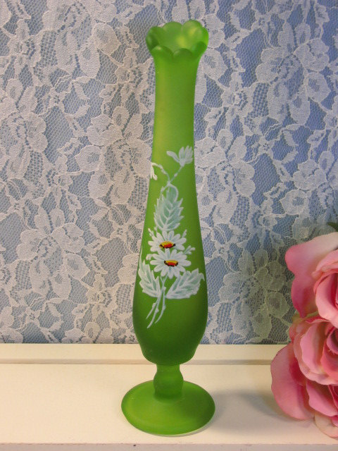 Vintage Westmoreland Glass Green Satin Hand Painted Daisy Swung Vase, Art Glass - $29.99