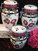 Oneida China Dinnerware Strawberry Plaid Canister Set, Vintage Dinnerware  - $99.99