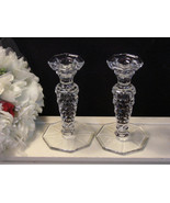 Vintage Fostoria Glass American Crystal Tall Candle Holder Set, 1950s  - $64.99