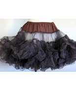 Vintage Brown Crinoline Lace Petticoat Slip Skirt Tutu Rockabilly, 1960-... - $69.99