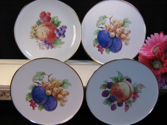 Primary image for Vintage NC Western Germany China Fruit Plate Set of Four, Decorative Plates 1960