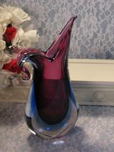 Vintage Murano Glass Eames Era Blue Purple Blue Vase Free Form, Stunning 1960's  - $249.99