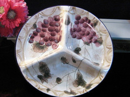 Vintage Oneida Dinnerware Veneto Grape 3 Part Divided Platter Relish - $49.99