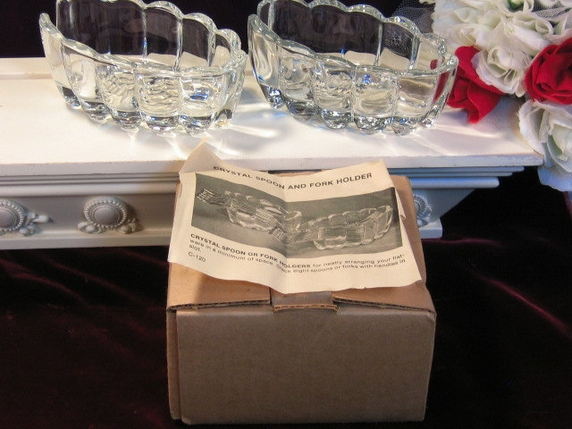 Primary image for Vintage Princess House Crystal Ribbed Spoon or Fork Rest Set of Two Original Box