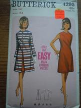 Retro 1960's  Butterick Misses Size 14 Dress & Coat Pattern #4295 - $5.99