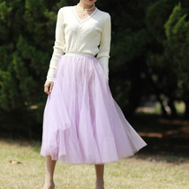 Gray Layered Tulle Skirt Outfit High Waisted Midi Tulle Skirt Party Tulle Skirt image 10