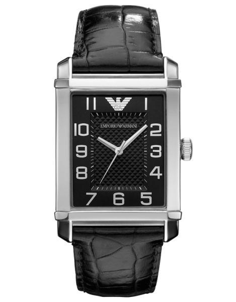 Primary image for EMPORIO ARMANI MEN´S AR0362 CLASSIC BLACK DIAL BLACK STRAP WATCH