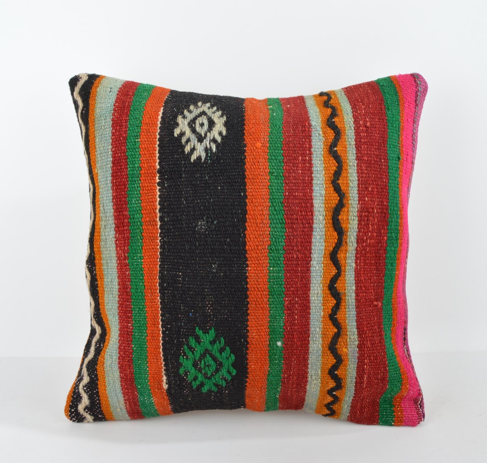 Modern Bolster Pillows : Cushion cover,Modern decor,Colorful pillow,Kilim Bolster,Rustic Decor 16x16 inch - Pillows